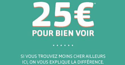 Chez GENERALE D'OPTIQUE profitez de l'offre 25€ pour bien voir à partir du 12/02, valable toute l'année à Bercy 2, promotion, prix bas