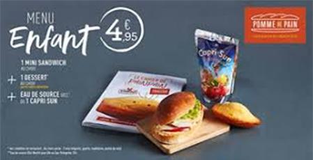 menu enfant Bercy 2 centre commercial Pomme de pain